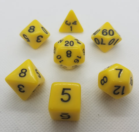 CDG Yellow & Black RPG Dice Set (7)