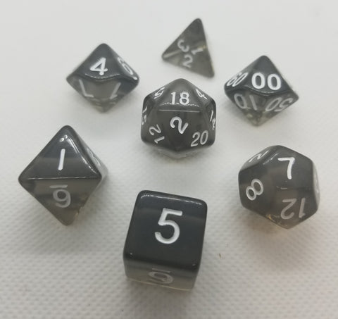 CDG Translucent Black & White RPG Dice Set (7)