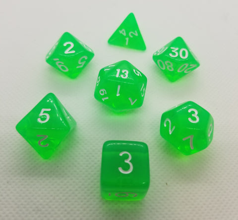CDG Translucent Green & White RPG Dice Set (7)