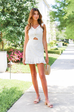 Elegant Eyelet Front Tie Dress