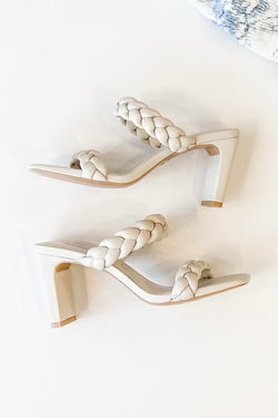 Beautifully Braided Detail Heels in Off White