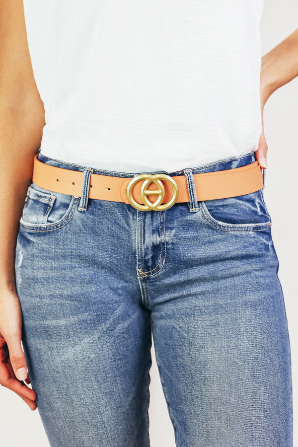 Brushed Metal Logo Belt