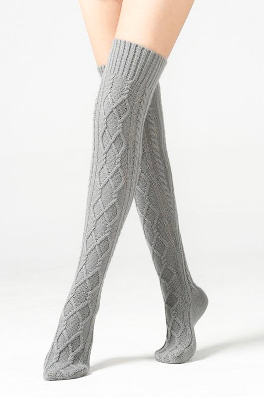 Cable Knit Knee High Sock