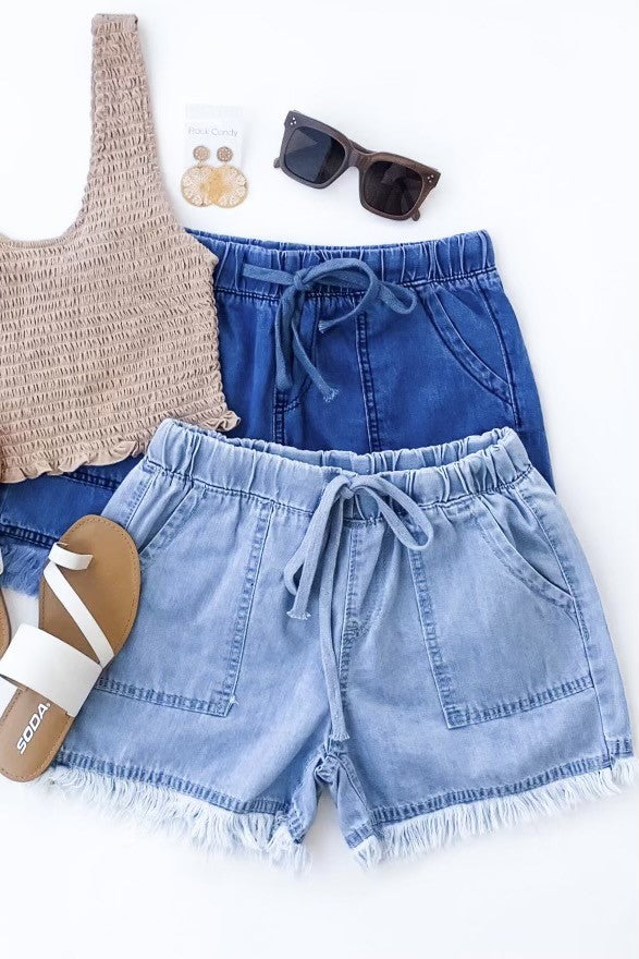 Keep it Simple Frayed Hem Drawstring Shorts
