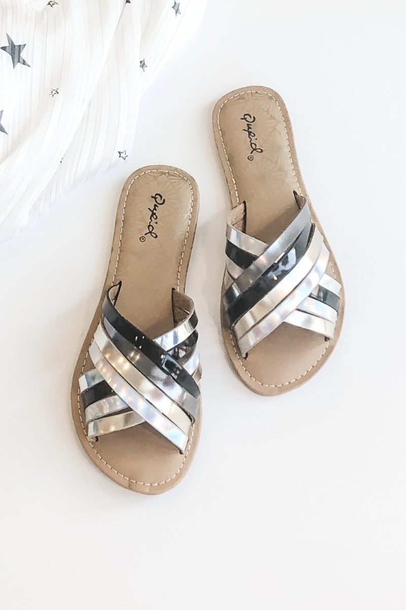 Metallic Mood Criss Cross Slide