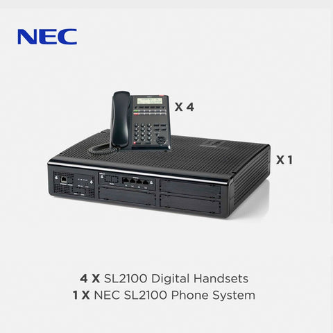 NEC SL2100 Telephone System with 4 Digital Handsets