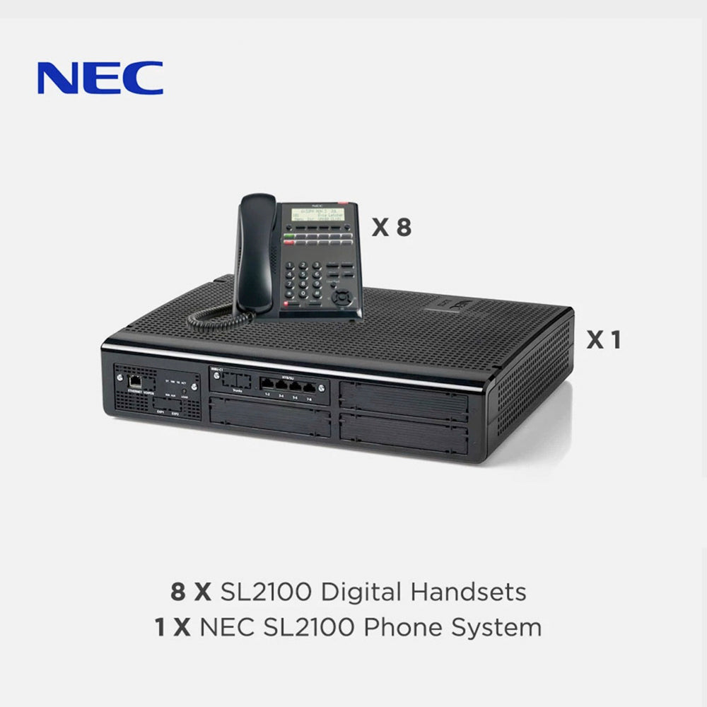NEC SL2100 Telephone System with 8 Digital Handsets