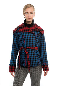 AVENS Blue Plaid Contrast Collar Jacket