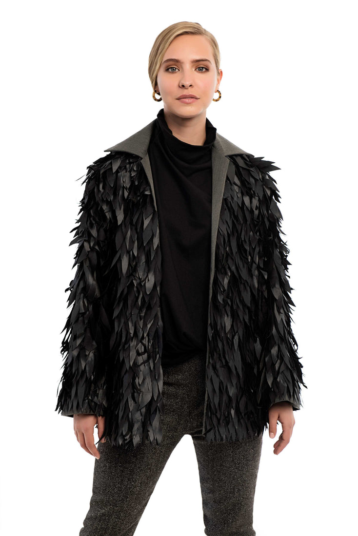 LAMONT faux feather COAT