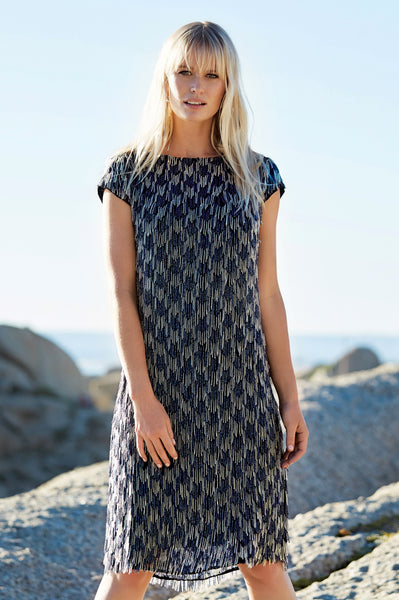 Velutina Houndstooth Beaded Dress
