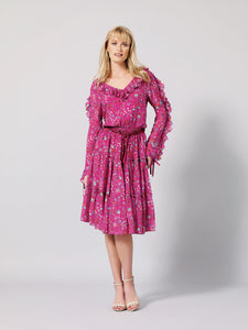 CARISSA Silk Floral Print Dress