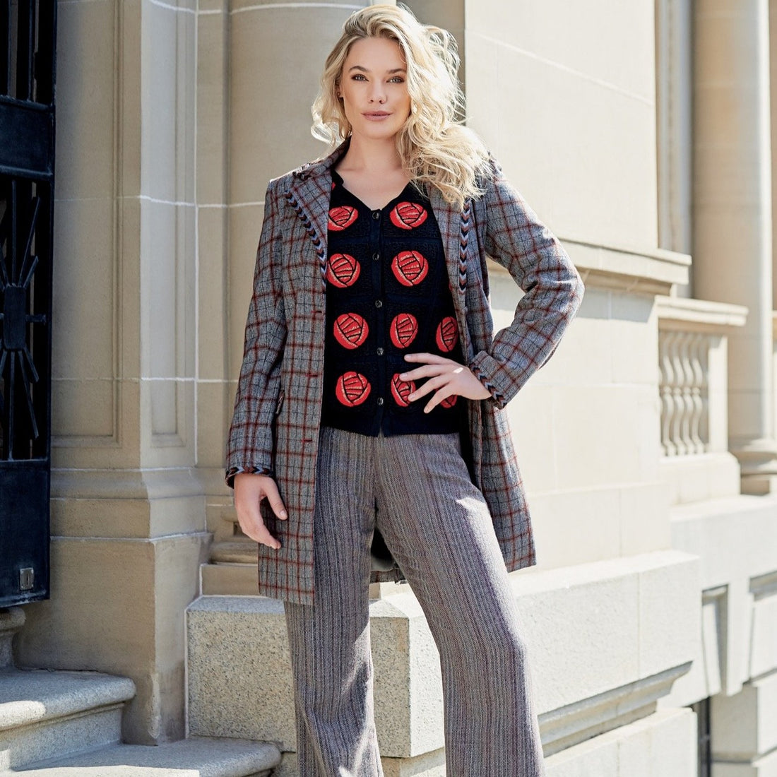 CINQUEFOIL Plaid Embroidered Coat