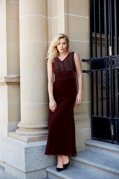 PRIMULA Embroidered Silk Velvet Gown