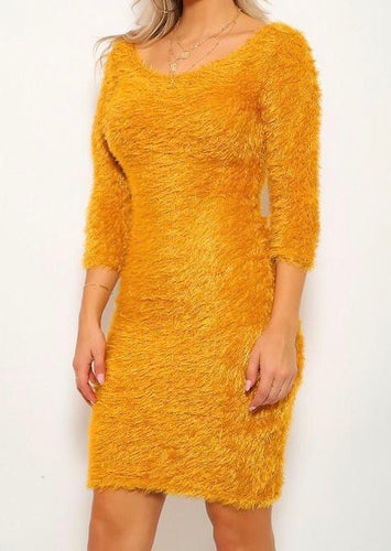 Golden Feather Bodycon Dress