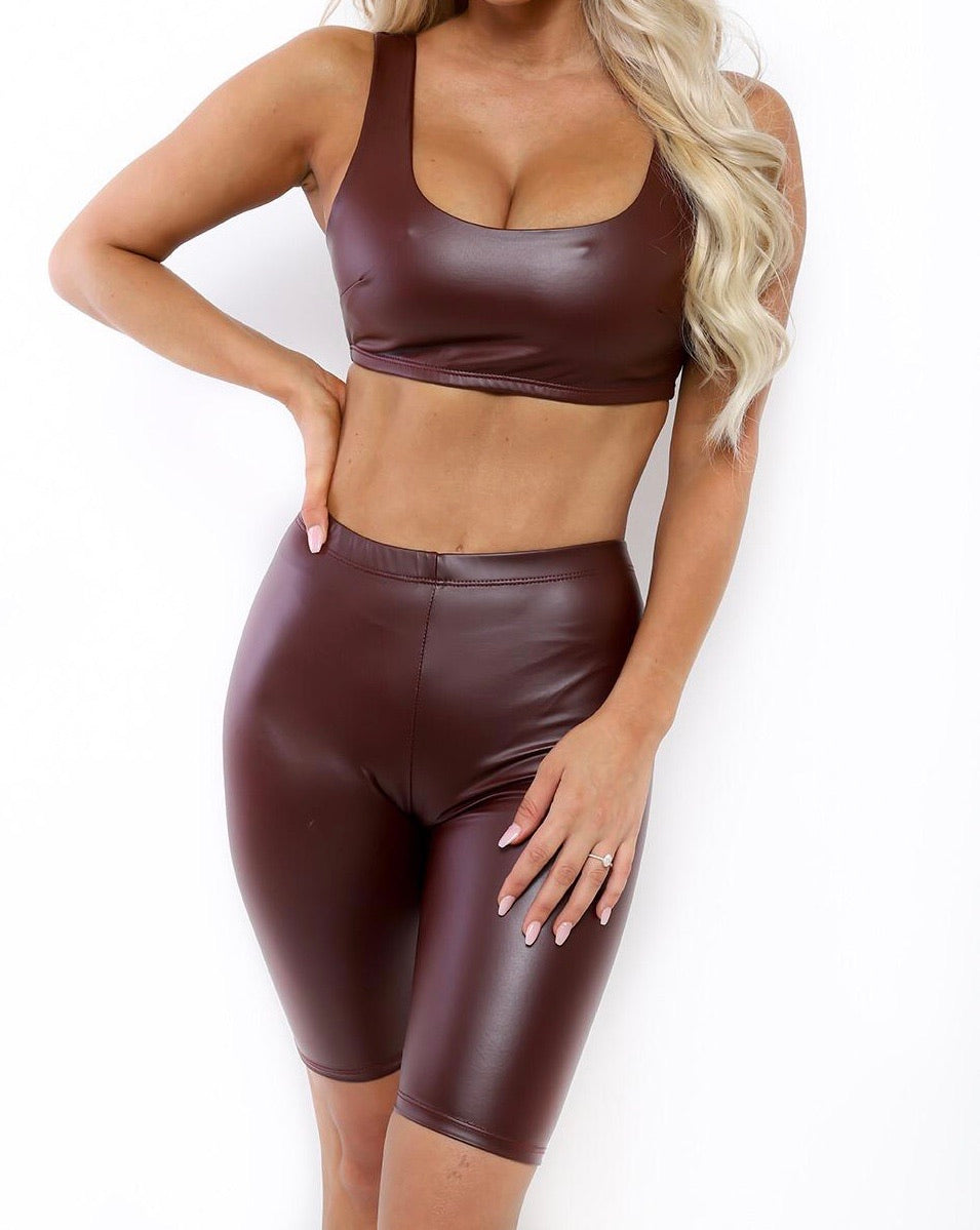 Burgundy Faux Leather Set