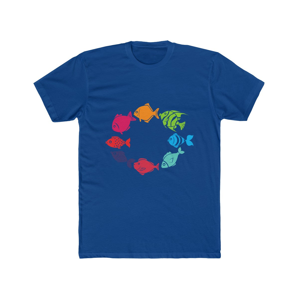Fish in a Circle on a Men's Cotton Crew Tee