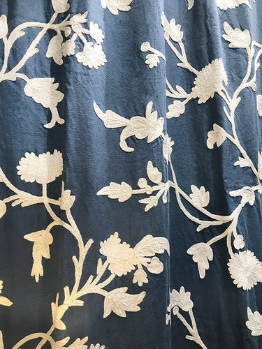 CUB | Blue Cotton Crewel Embroidered Curtain
