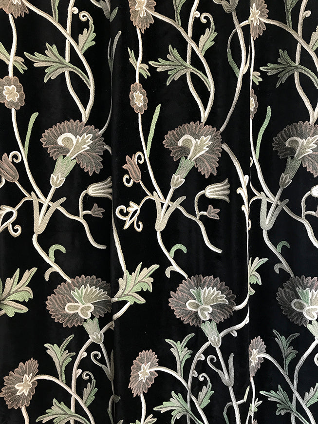 CUV-B | Black Velvet Crewel Embroidered Curtain