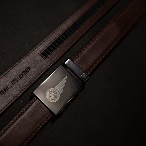 Brown Leather Mission Belt - South Main Iron