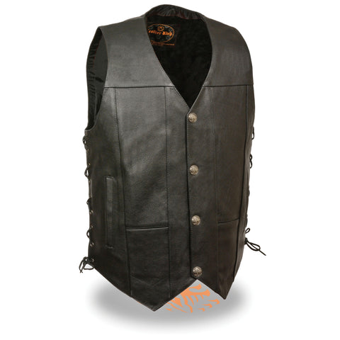 MENS SIDE LACE LEATHER VEST - South Main Iron