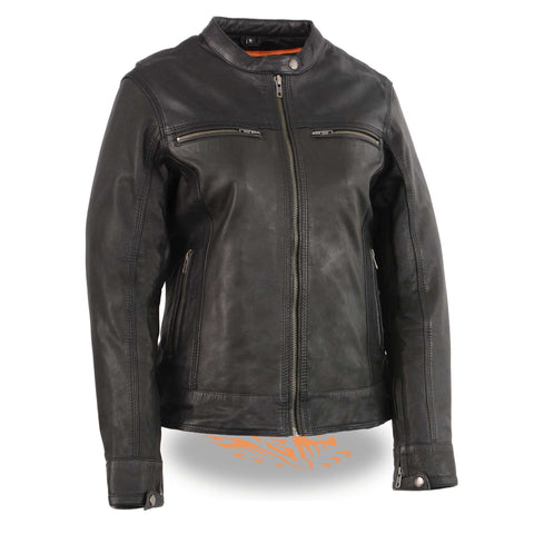 WOMENS LEATHER SCOOTER JACKET - South Main Iron