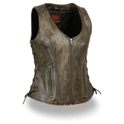WOMENS DISTRESSED LEATHER VEST - South Main Iron