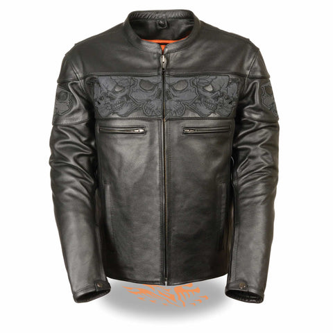 MENS REFLECTIVE LEATHER JACKET - South Main Iron