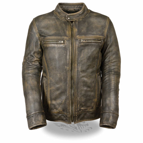 MENS DISTRESSED LEATHER JACKET - South Main Iron