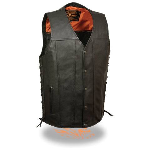 MENS STRAIGHT BOTTOM LEATHER VEST - South Main Iron