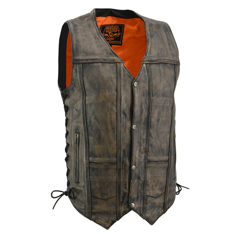 MENS DISTRESSED LEATHER VEST - South Main Iron