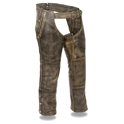 MENS DISTRESSED THERMAL LINED LEATHER CHAPS - South Main Iron