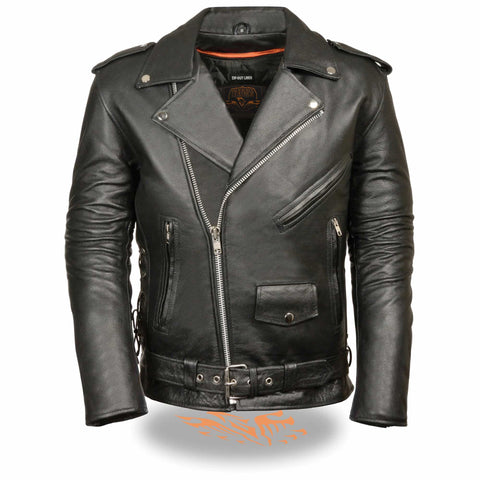 MENS POLICE STYLE LEATHER JACKET - South Main Iron