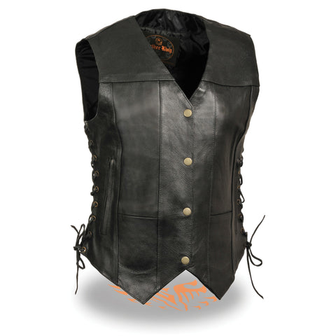 WOMENS SIDE LACE LEATHER VEST - South Main Iron