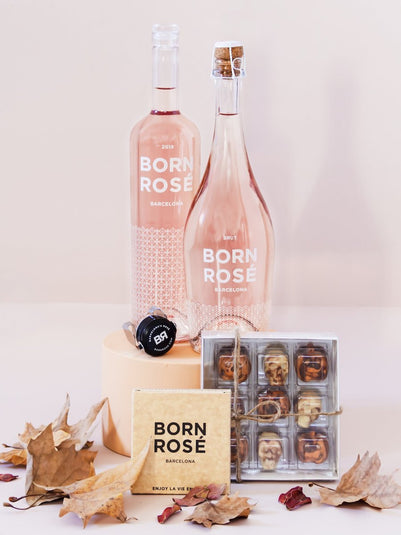 PACK CHOCO HALLOWEEN: Rosé, Brut & 9 chocolate bonbons + Rosé Lovers accessories