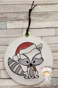 4x4 Christmas Raccoon Ornament