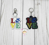 Autism Love Puzzle Piece Snaptab and Eyelet
