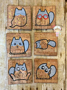 Cat Illustrations Coaster Set