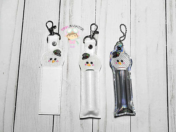 Cross Stitch Snowman Chapstick/Lip Balm Holder Snap and Eyelet