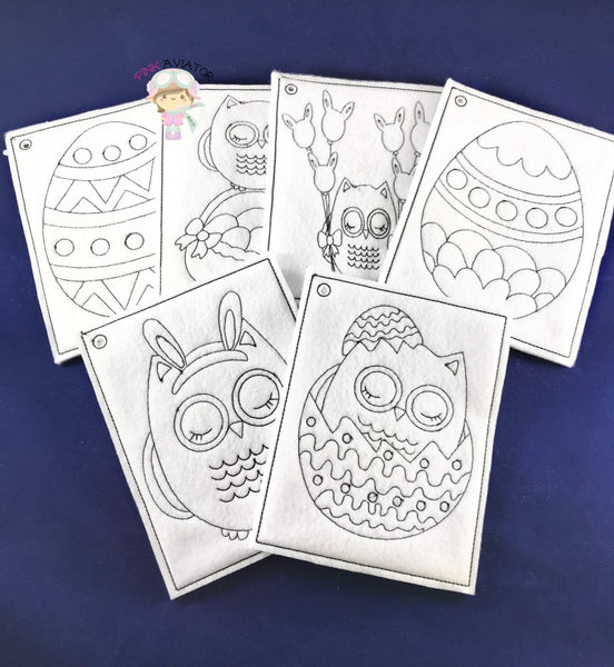 Easter Owl Color Pages 2 SIZES!