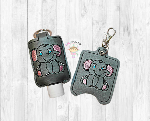 Elephant Small Hand Sanitizer Holder Snap and Eyelet