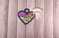Love Peace and Music Snaptab and Eyelet