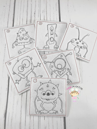 Monster Coloring Pages 2 SIZES!!!