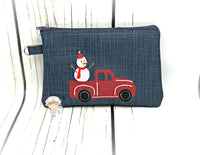 Top Zipper Red Truck Snowman