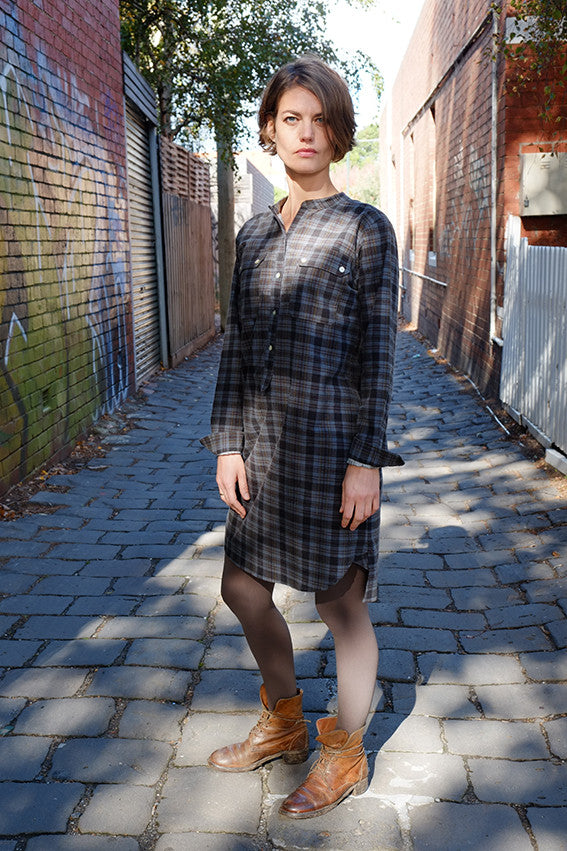 Iggey Shirt Dress Charcoal Check