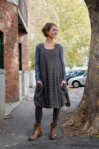 Leicen Dress Charcoal Check