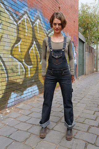Denim Overalls Charcoal Italian Stretch Denim