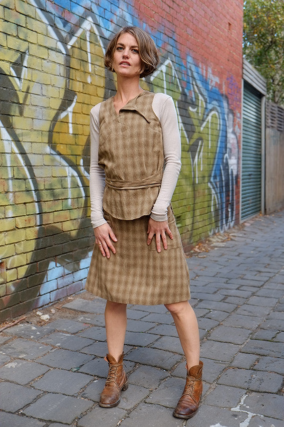 A line Skirt Olive Check