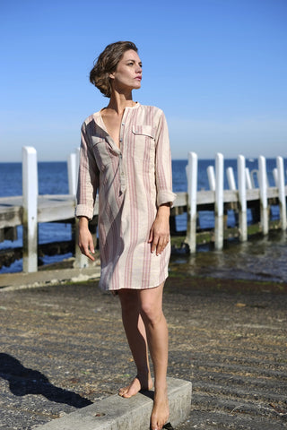 Iggey Shirt Dress - Pink Stripe