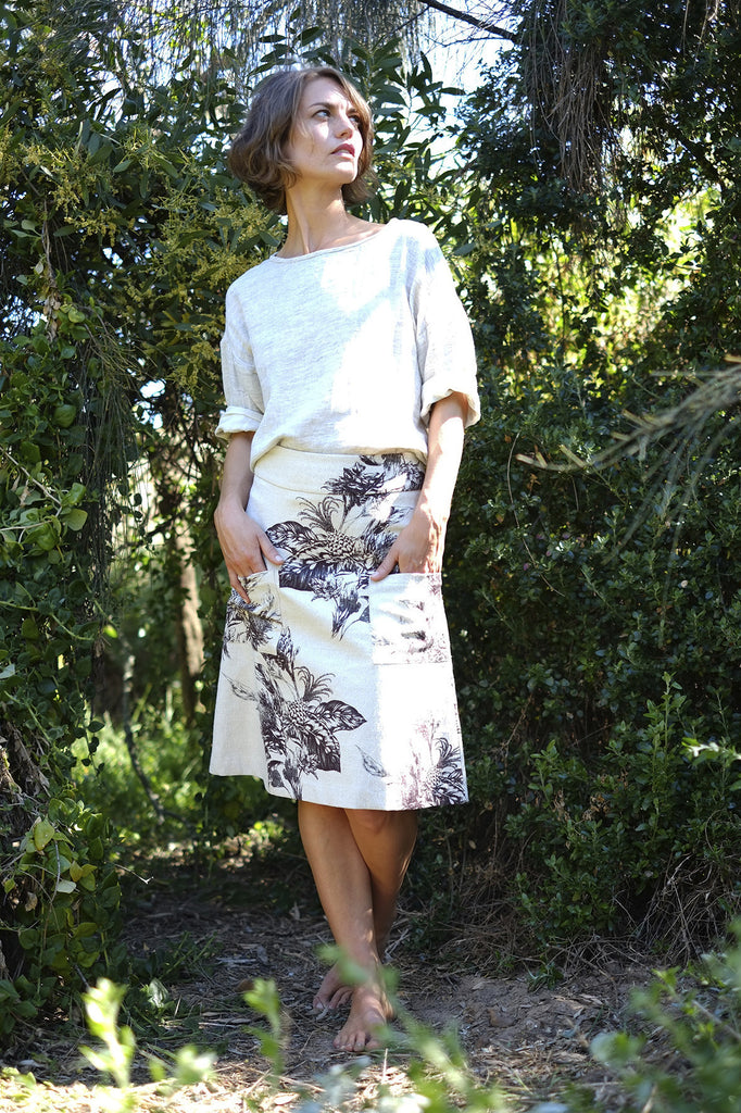 A line Skirt - Brown Native Floral