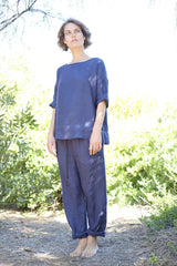 Rouge Top - Japanese Woven Linen - Navy